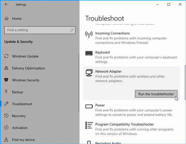 Use The Inbuilt Troubleshooter