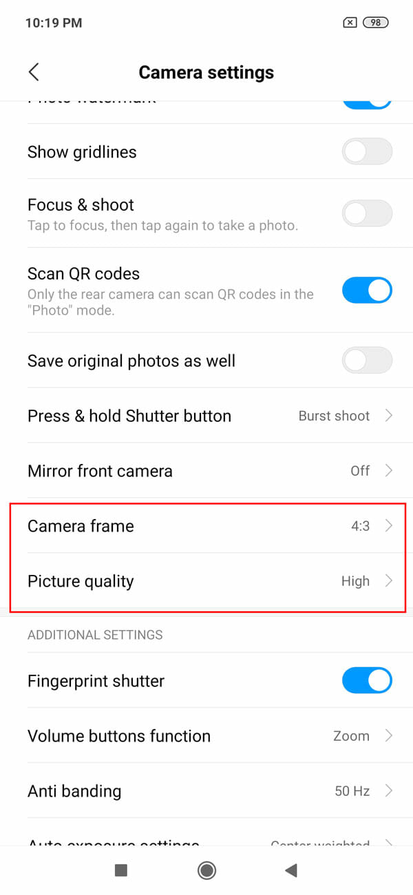 Change Camera Frame And Image Quality