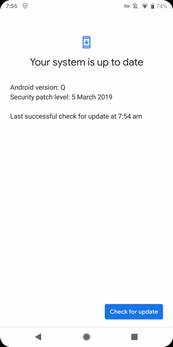 Device Updated With Android Q Beta