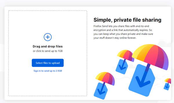 Setup And Use Firefox Send To Share Files Online