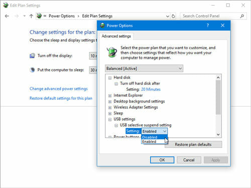 Turn Off USB Selective Suspend Setting