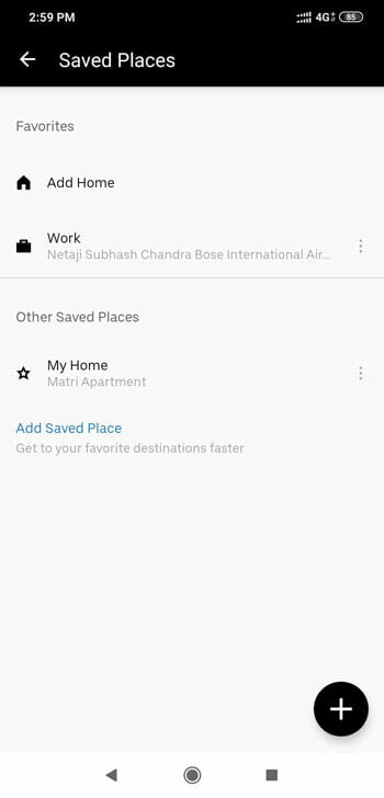 Add Saved Location In Uber