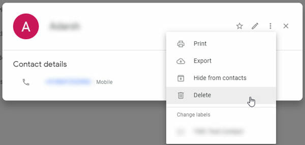 Delete contacts from Google Contacts