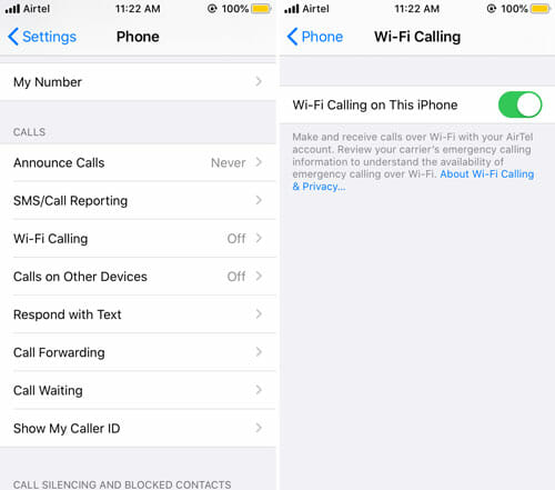 How To Enable Wi-Fi Calling On iOS
