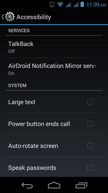 Accessability Settings to Enable AirDroid