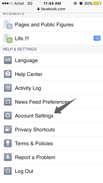 Account settings of Facebook