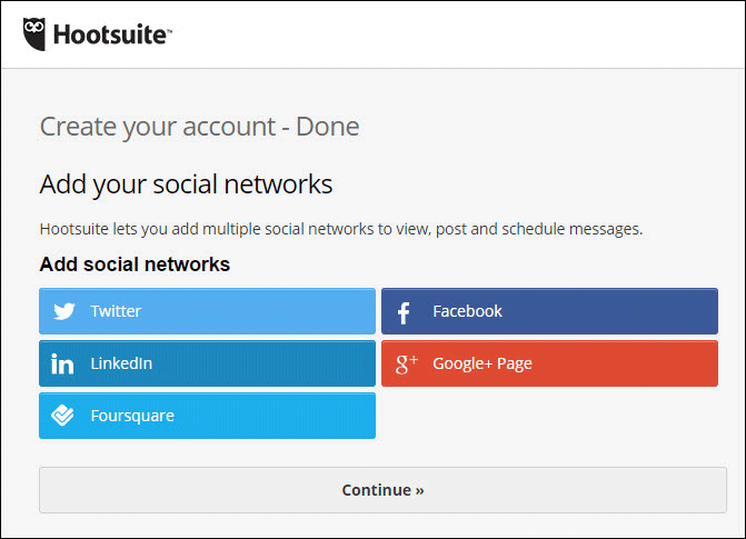 Add Social Account to HootSuite from Start Screen