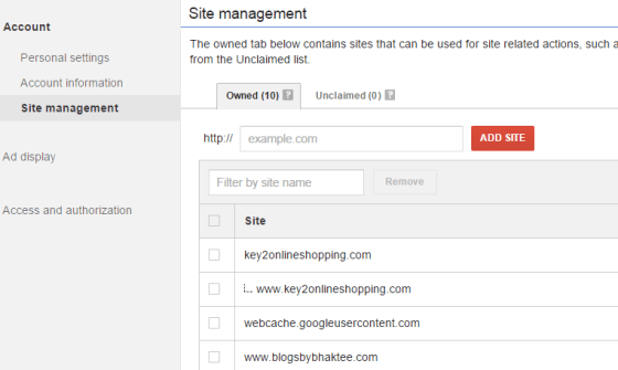 Adsense Site Management Owned Tab