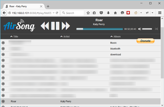AirSong Streaming music to PC from Android