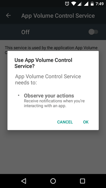 Allow App Volume Control on Android