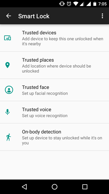 Android Smart Lock options