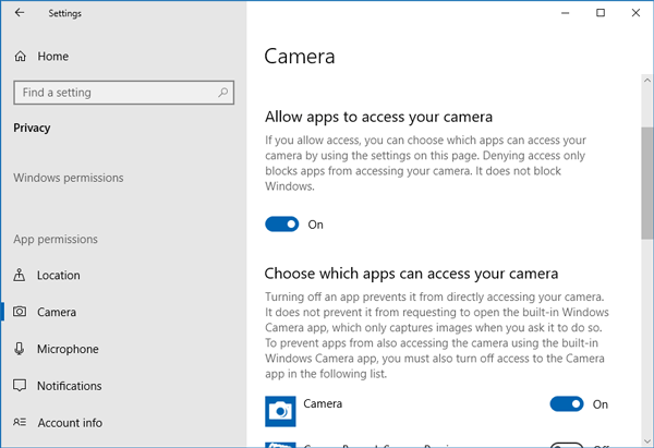 Apps cannot use Camera After Updating to Windows 10