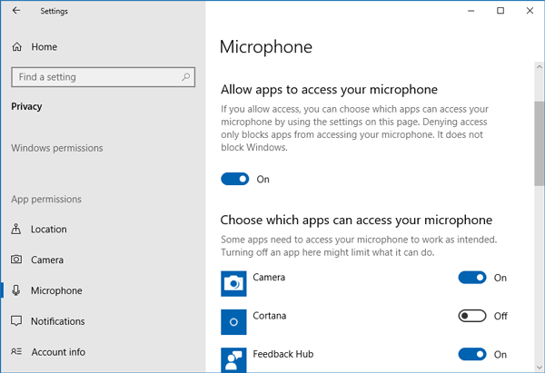 Apps cannot use Microphone After Updating to Windows 10