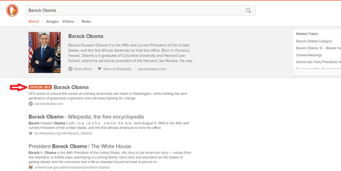 Barack Obama website in DuckDuckGo