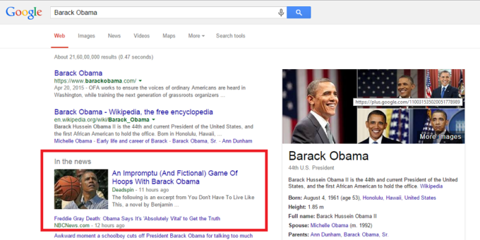 Barack Obama website in Google