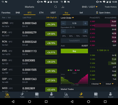 Binance Cryptocurrency Management Apps for Android and iOS