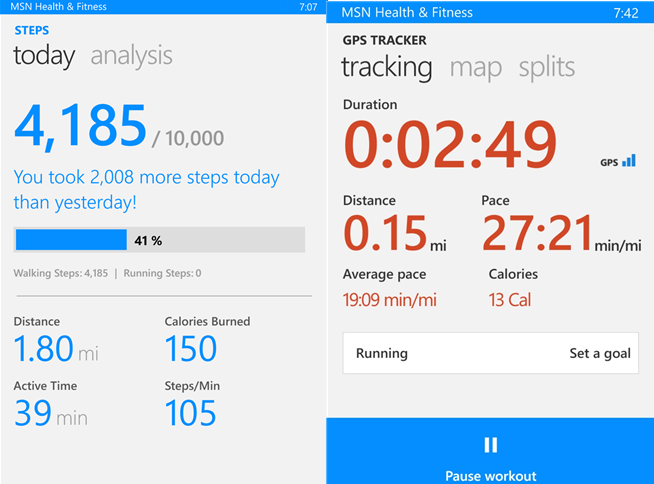 Bing Health and fitness weight loss apps