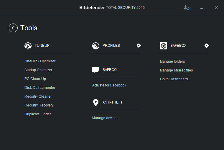 Bitdefender Total Security 2015 Tools