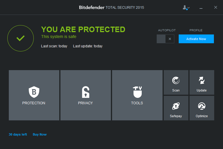 Bitdefender Total Security 2015 User Interface