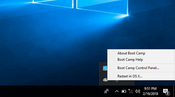 Boot Camp control Panel in Windows