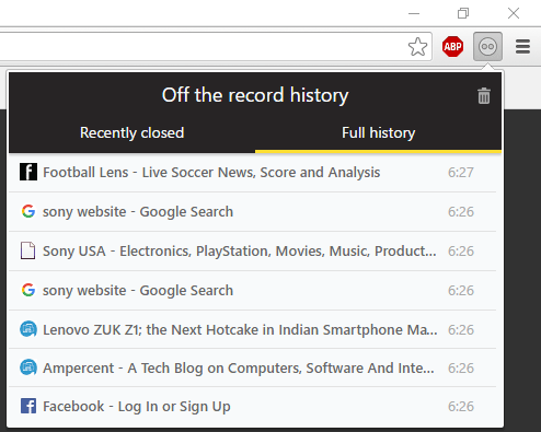 Browsing history of off the record hisotry extension