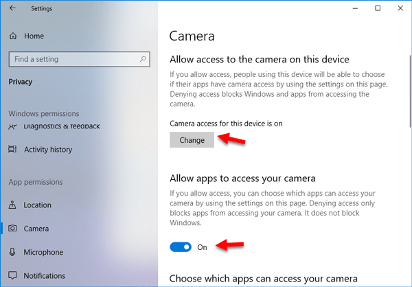 Camera App Not Working in Windows 10