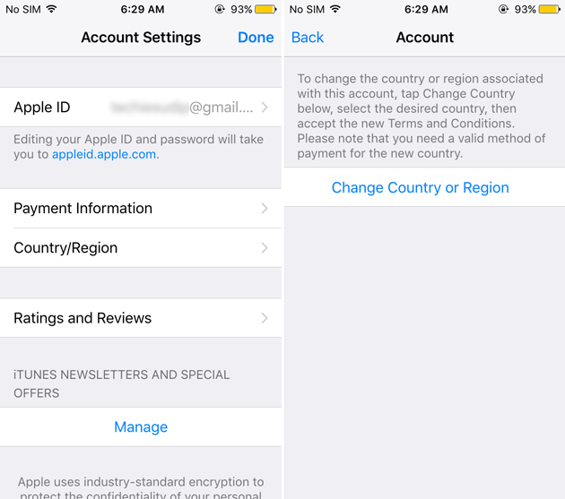 Change Country or region in iphone