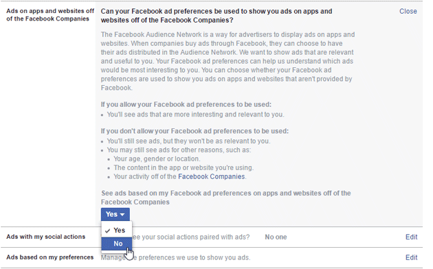 Change Facebook ad settings