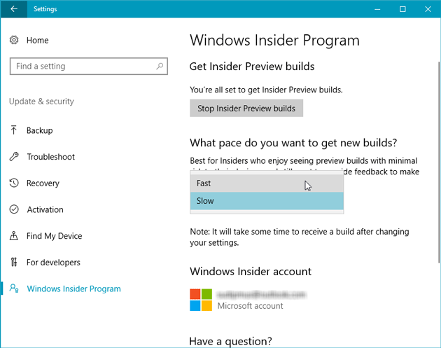 Change How Fast You Want to Get Windows Insider Preview Build Updates