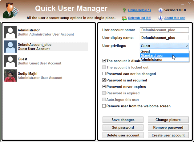 Change-role-of-user-account