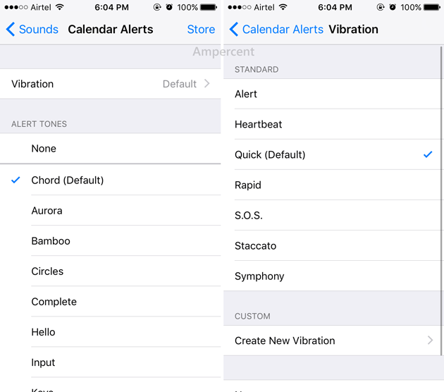 Change vibration for Calendar alerts on iOS
