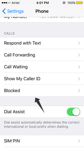 Check blocked numbers on iOS