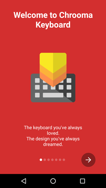 Chrooma keyboard start screen