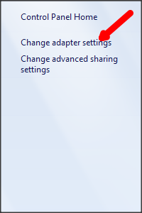 Click Change Adapter Settings