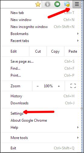Click on Menu and Settings