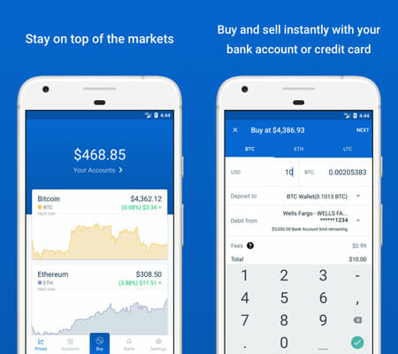 Coinbase Cryptocurrency Management Apps for Android and iOS