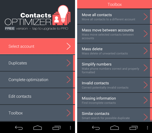 Contacts Optimizer App for Android