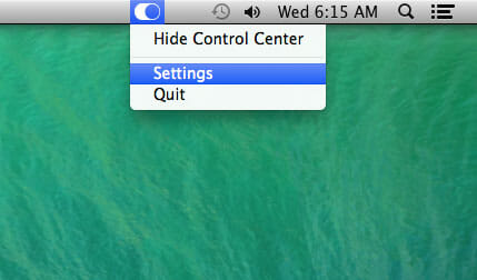 Control Center for Mac Settings Menu Bar