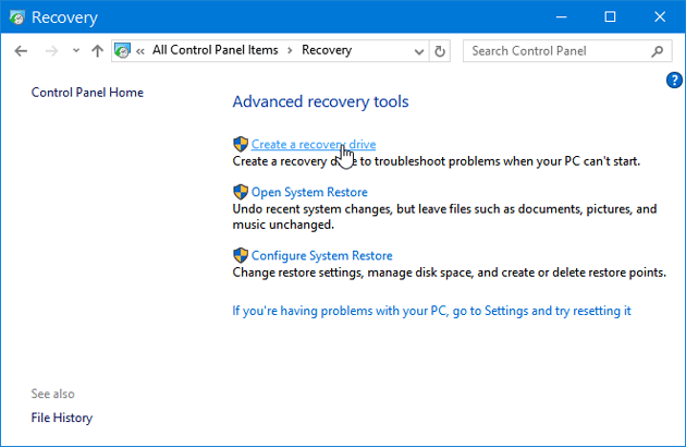 Create USB recovery drive in Windows 10