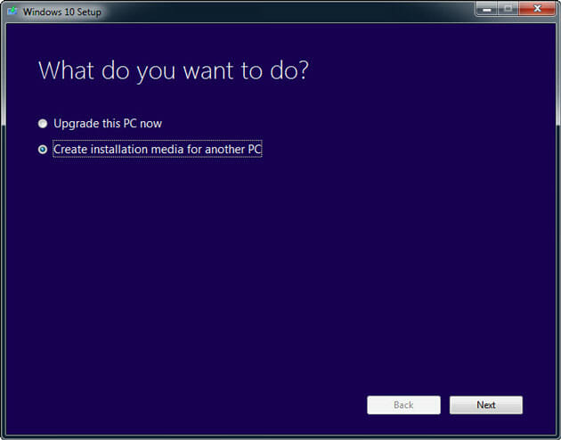 Create Windows 10 installation media for another PC