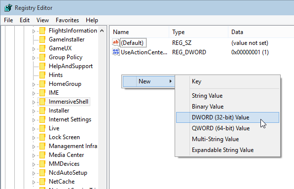 Create new DWORD value