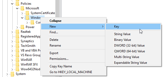 Create new key in registry editor