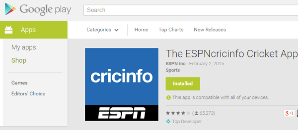 Cricinfo App from Espn