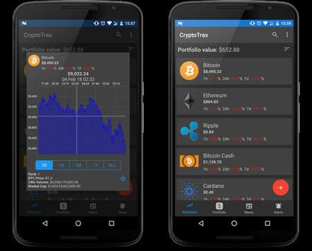 CryptoTrax Cryptocurrency Management Apps for Android and iOS