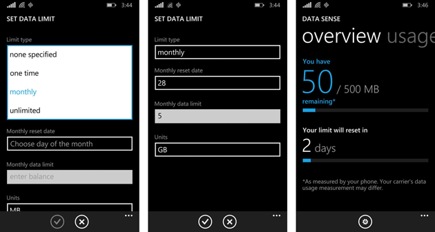 Data Sense for Windows Phone