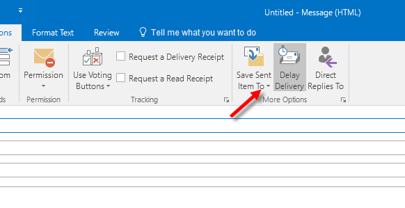 Delay Deliver in Outlook 2016