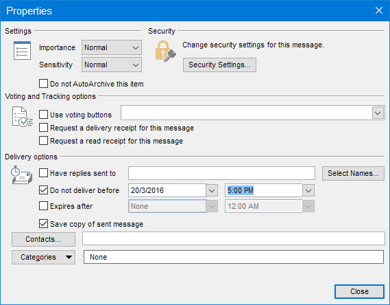 Delay Delivery in Outlook