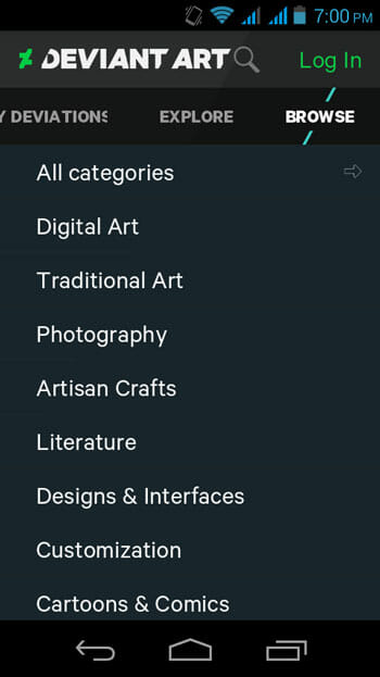 DevianArt App Browse tab