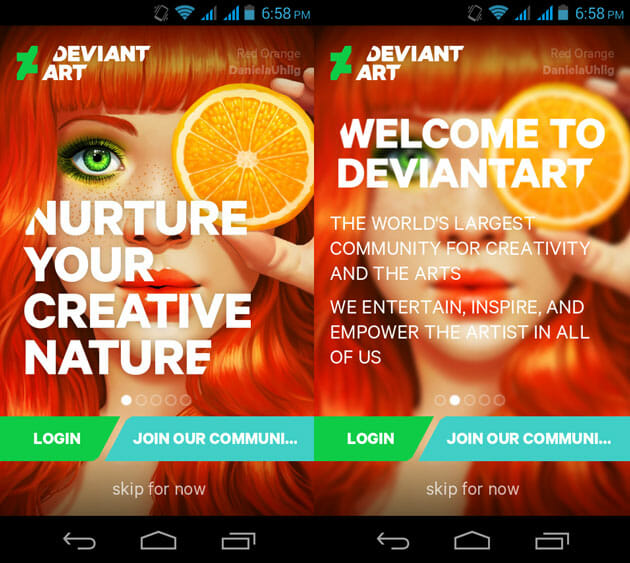 DevianArt start Screen