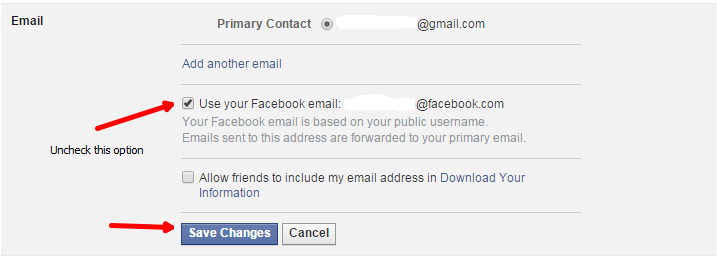 Disable Facebook email Id